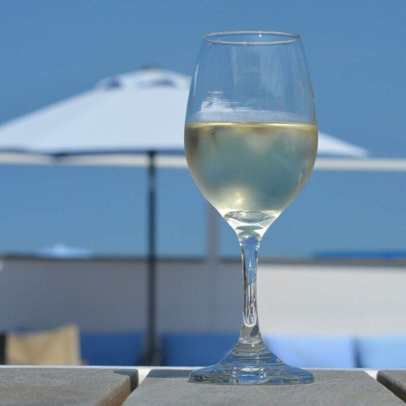 Copa de vino blanco frío